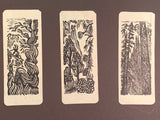 6 Small Woodcut Print Collectors Set Southwest Desert Joshua Yucca and Alpine Mountain Pine Trees