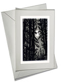 All is Calm Art Card Forest Night Pines Moon Silver Landscape