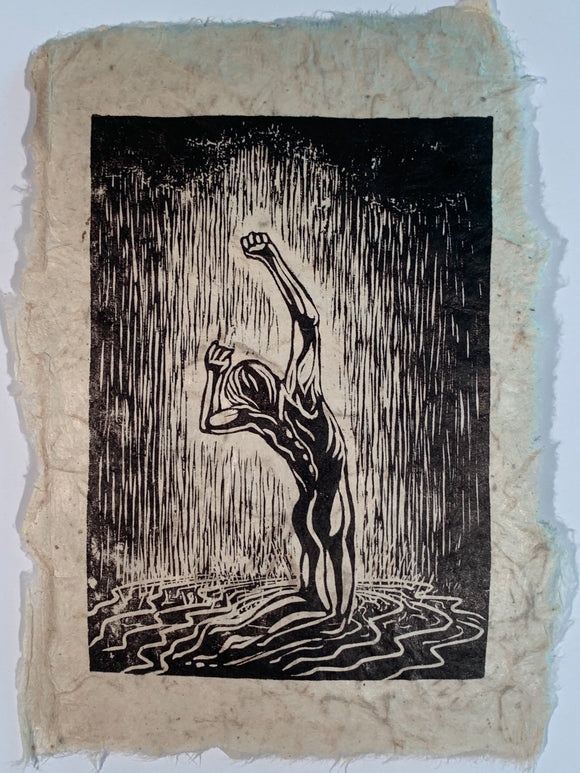 Woodcut Original Print Male Classic Model Pose Sweet Rain Figure