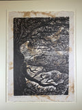 MATTED 20X16 Grand Canyon Through Trees Colorado River Original Woodcut
