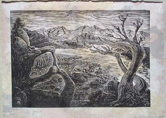 Original woodcut print Southwest Landscape Peaceful Desert Valley Nature Handmade Color Paper