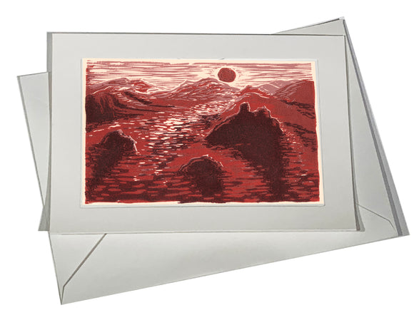 Lake Sunrise Rocks Islands Sun in Pink Red Orange ART CARD