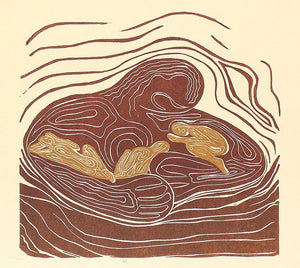 Original Woodcut Print Lullaby Mother Earth Hugging Sleeping Golden Children Woodblock Art