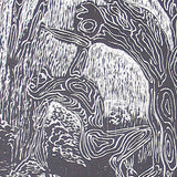 Woodcut Original Art Wood Engraving Print Hydrophyte Figures Willow Water Loving Tree of Life