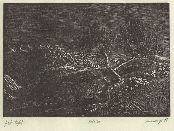 First Light Wood Engraving Southwest Sunrise Somewhere Near Capitol Reef Utah