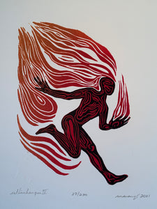 Woodcut Print Original Color Child Art Fire Runner Red Orange