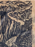 FRAMED 8X10 Original Woodcut Grand Canyon South Colorado River Lotka Paper