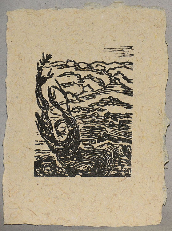 Original Woodcut Print Twisted Bristlecone Sierra Nevada Pine Tree Fiber Paper