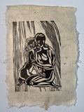 MATTED 12x16 Original Woodcut Print Tender Embrace Classic Figures Couple Hug