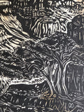 MATTED 16X20 Original Woodcut View V Grand Canyon Colorado Handmade Paper