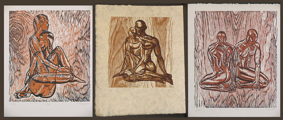 Matched Set of 3 Pure Love Woodcut Prints on Daphne Handmade Paper