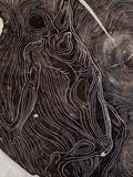 Winds Life of Tree Rings Original Wood Engraving Male in Storm Surreal