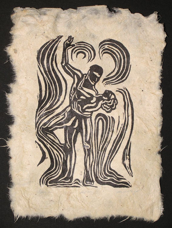 Original Woodcut Handmade Paper Classic Couple Dancing Waltz Energy Swirls LE