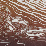 Fine Art Print of Lady of the Wood woman in classic pose nature lover woodgrain in copper and gold