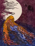 FRAMED all wood 12x16 Original Woodcut Aloja Water Woman Lake In the Moonlight