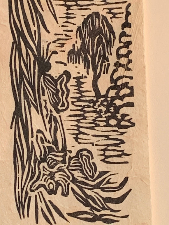 Desert Willow Mojave Flower Original Woodcut Desert Trees Landscape Collection