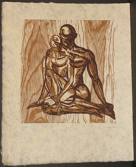 Original Woodcut Earthtones Couple Man Woman Love Together Sitting in Classic Elegant Pose