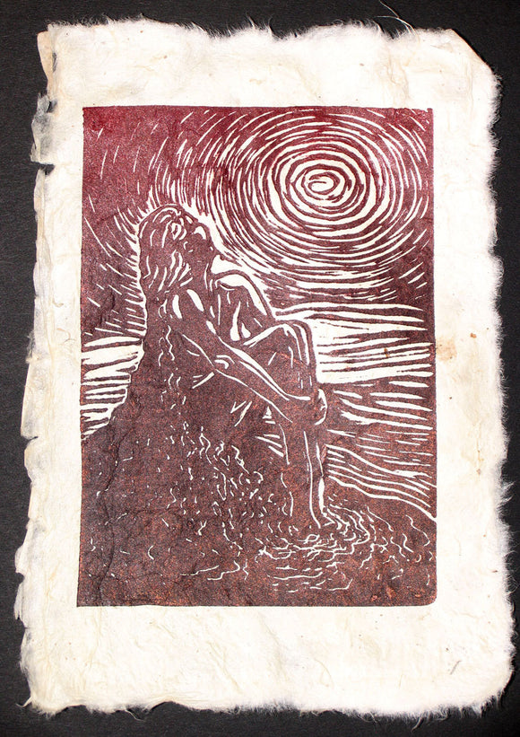 Original Woodcut Print Female Classic Beauty Sunbather Red Copper Sun HM Paper