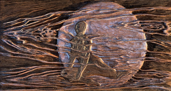 Moonshadow Original Woman in Night Moon Hand-carved Cherry Woodblock Pearl and Ebony