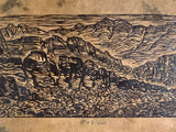 MATTED 20X16 Red Rock Canyon Southwest Landscape Original Woodcut Lotka Paper