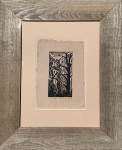 FRAMED 12X16 Original woodcut Southwest landscape Zion National Park Hidden Nook