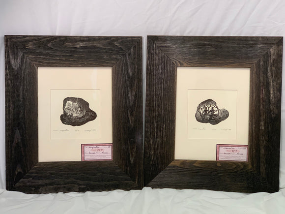 FRAMED wood frames 2 Wood Engraving Set Unique Figures Greek Muses Playing Music