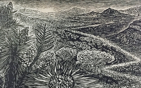 Not Too Far To Walk Original Wood Engraving Print Hiker Traveler Southwest Landscape