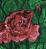 Garden Gifts ART CARD Floral Rose Flower Bright Color Green Red