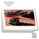 Entre Viento y Sol Wind Sun Mountains Desert Yoga Pose Art Card