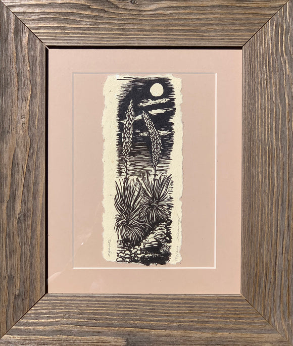 FRAMED Woodcut Agaves of the Southwest Desert Under Moonlight handmade paper