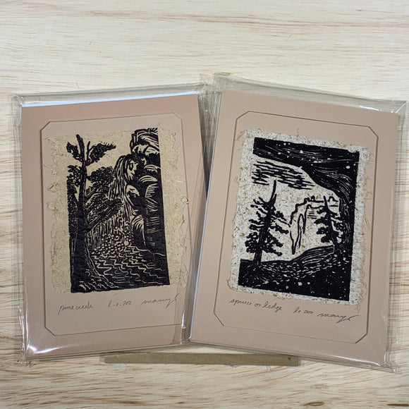 Pine Creek Spruce Cave Art Gift MAT or FRAME 5x7 SET Original Woodcuts