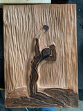 Sweet Rain Classic Male Pose Original Handcarved Cherry Woodblock Male Nude Rain Unique Figure