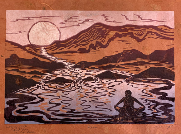 Original Woodcut Print Liquid Glow Figure Lake Sunrise Handmade Paper