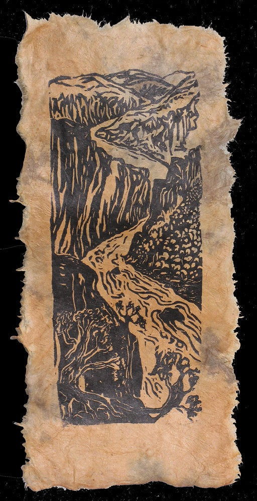 Original Woodcut Print Grand Canyon South Rim Colorado River View Landscape on Lotka Nepalese Paper
