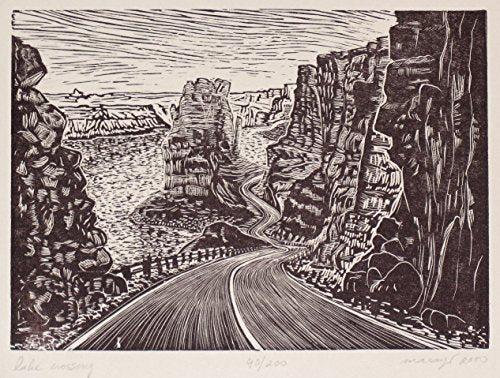 Original Wood Engraving Crossing the Lake Powell Southwest Colorado River Desert Road