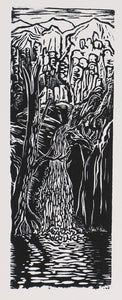 Original woodcut print woodblock art Southwest landscape Zion National Park waterfall Cooling Waters