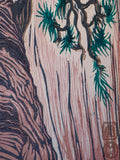 Color Woodblock Print White Pine Cliff Hanger National Park Zion Landscape