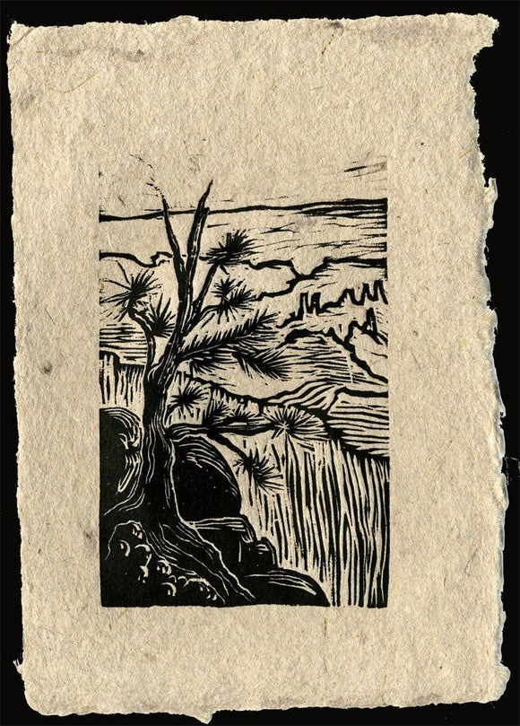 Original Woodcut Print on Handmade Paper Grand Canyon Overlook South Rim Trail