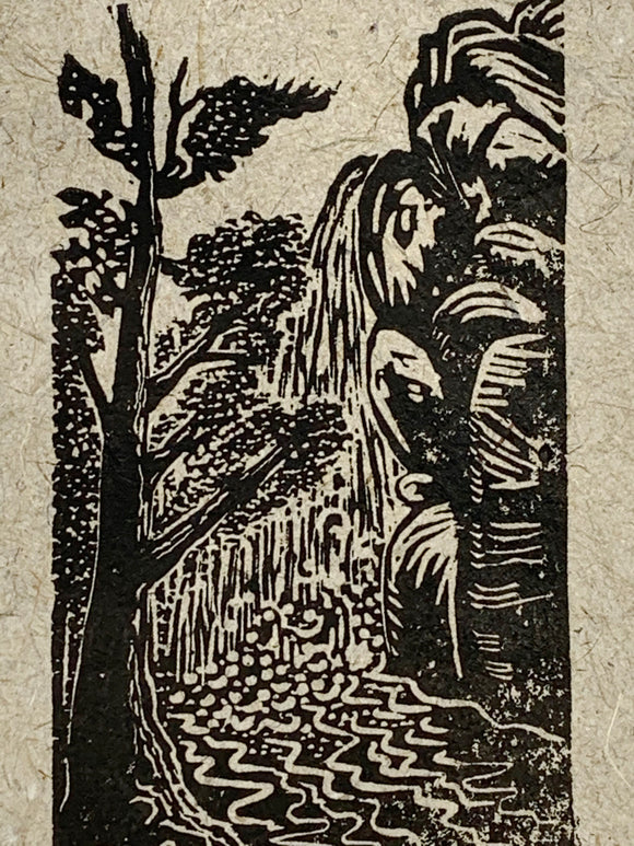 Original Woodcut Pine Creek Canyon Hike Waterfall Southwest Landscape
