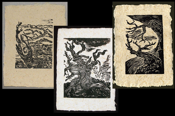 SET 3 Original Woodcut Prints Ancient Bristlecone Pines on Handmade Paper Woodblock Landscape Art