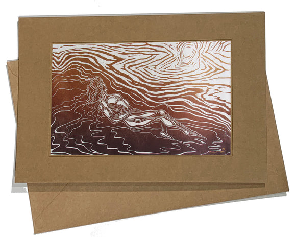 Art Card Lady of the Wood Woman Classic Pose Nature Copper Gold Tan