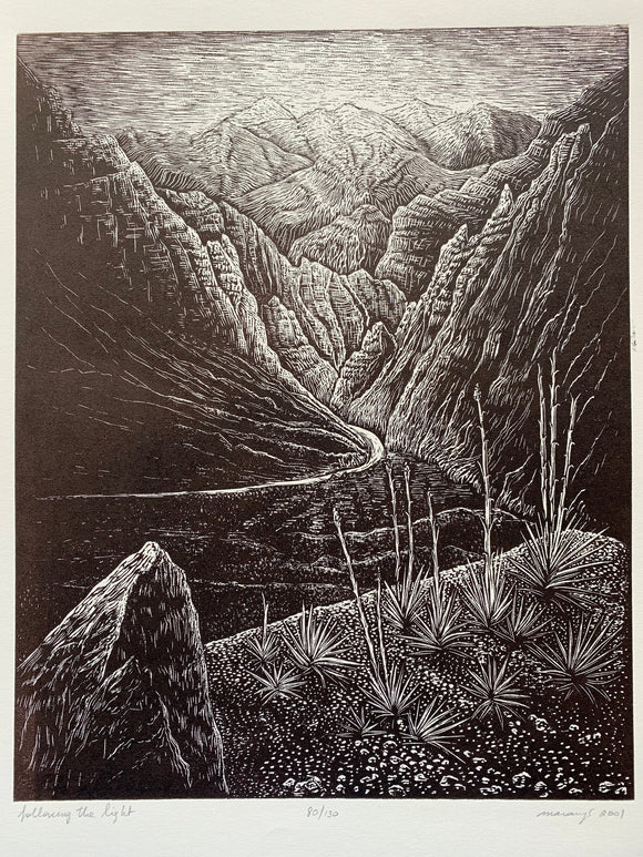 Wood engraving Print Original Woodcut Follow the Light Wood Engraving Southwest Desert Nevada Landscape