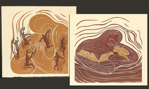 Collector Set 2 Woodcut Prints Original Handful Lullaby Mother Child Earthtone