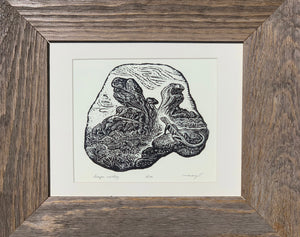 FRAMED Dragon Valley Wood Engraving Lizards Desert Canyon Fantasy Landscape