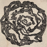 Original Woodcut Fragile print on handmade paper Daphne mandala of connected figures 10x10 inches
