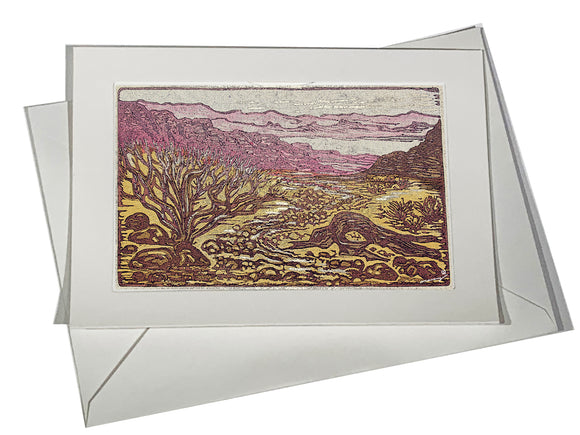 ART CARD Watercolor Texture Valley of Fire Southwest Landscape Lake Desert