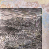 Woodcut Print Southwest Mojave Desert Landscape Classic WoodblockLake Mead View on Handmade Paper