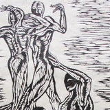 Woodcut Print Figures Human Tower Castle Castellets Strong Man Acrobats Original Art