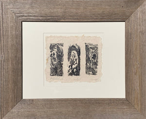3 FRAMED Woodcut Print in a Set Southwest Desert Joshua Yucca Willow Trees
