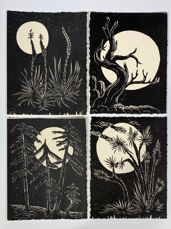 Moon SET Collection 4 Night Desert Tree Landscape Original Woodcuts